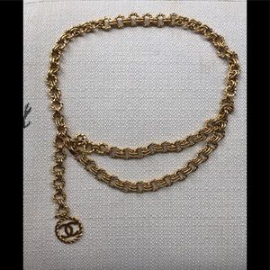 Chanel Vintage Gold Chain Belt Logo Double Tiered